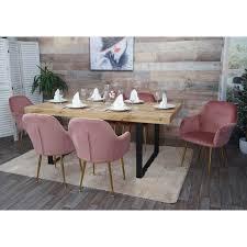 6x esszimmerstuhl hwc f18 stuhl küchenstuhl retro design samt altrosa goldene beine