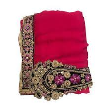 Party Wear Zari Work Hand Embroidered Silk Saree 55 M