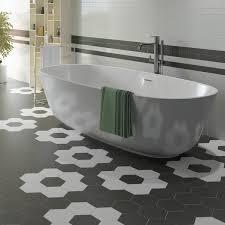somertile 7x8 inch hextile matte black porcelain floor and wall
