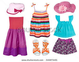 Kids Summer Clothes Isolated On White Girl Fashion Wear Collage