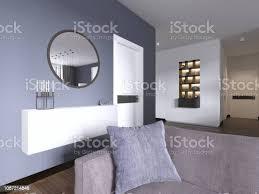 weiße hängende konsole mit einem spiegel im modernen stil wohnzimmer stockfoto und mehr bilder dekoration