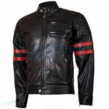 shop x men wolverine black with red strips biker leather jacket men