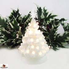 Miniature White Ceramic Christmas Tree With Clear Lights And Star 6 Inch Tall Electric Lighted