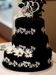 White And Black Fondant Wedding Cakes
