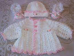 crochet baby pink and white sweater set layette for take