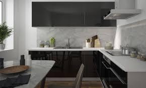 küchenzeile einbauküche küchenblock komplett küche 230x210cm l form 8 tlg grau schwarz hochglanz