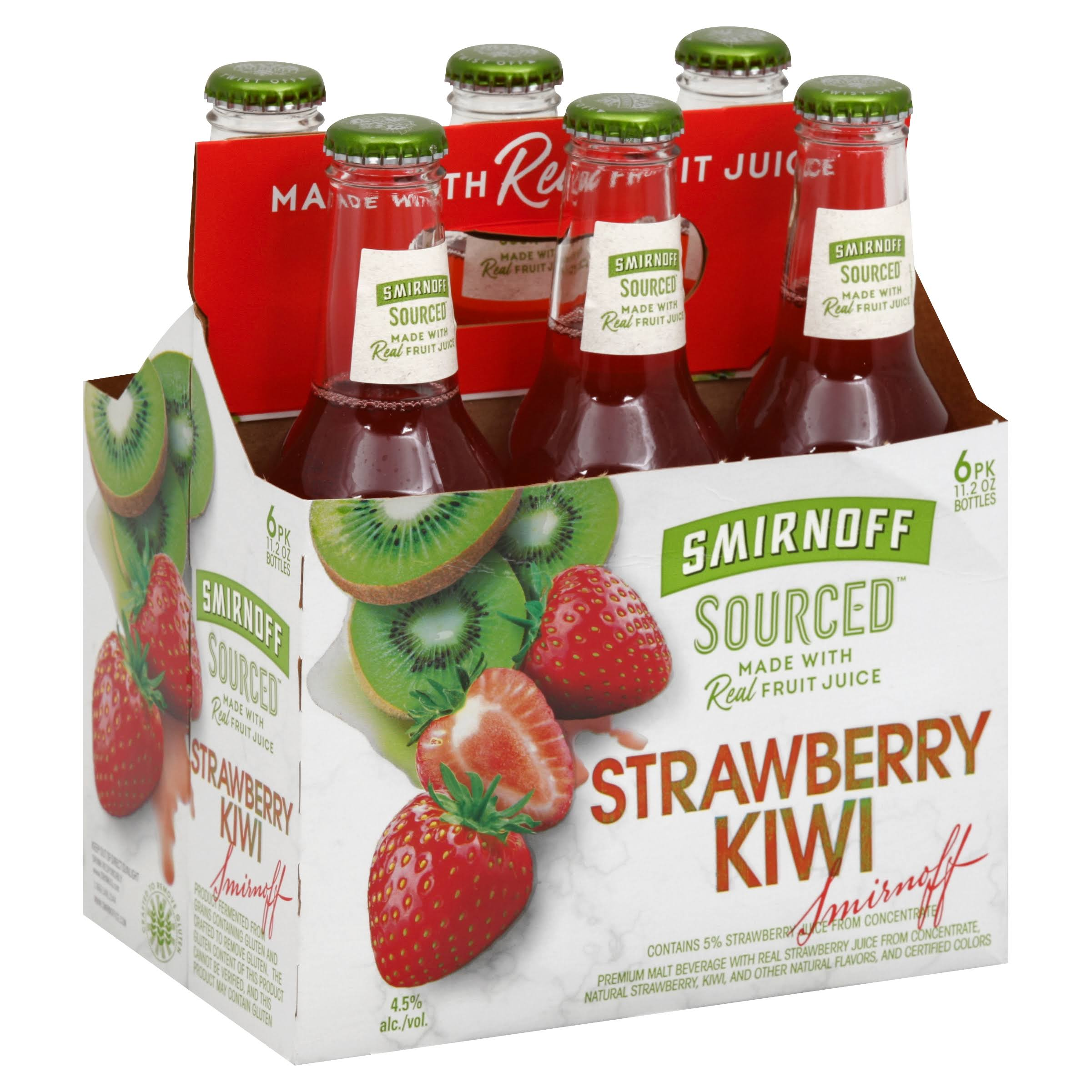 Smirnoff Sourced Malt Beverage, Strawberry Kiwi, 6 Pk - 6 pack, 11.2 oz bottles