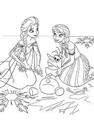 Princess Anna And Queen Elsa Fix Olaf The Snowman Colouring Page