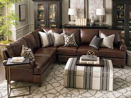 montague leather sectional living room by bassett furniture