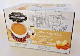 Cafe Continental White Chocolate Caramel Cappuccino 12 K Cup Keurig FS New