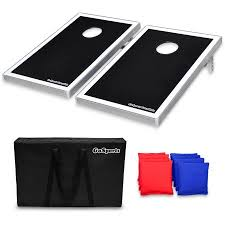GoSports Foldable Cornhole Boards Bean Bag Toss Game Set Superior Aluminum Frame Black Design