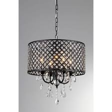 Home Depot Ceiling Lamp Shades by Monet 17 In Black Indoor Drum Shade Crystal Chandelier With Shade