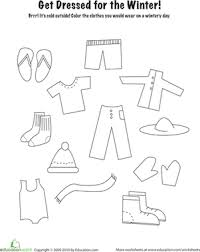 Kindergarten Holidays Seasons Worksheets Winter Clothes Coloring Page