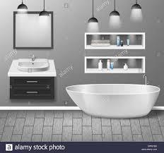 realistische badezimmer möbel interieur mit modernen