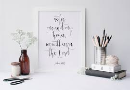 Etsy Bathroom Wall Art by Printable Art As For Me And My House Typography
