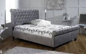 Alexandra King Size Grey Fabric Sleigh Button Bed The Alexandra