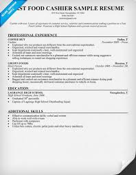 Fast Food Cashier Resume Sample