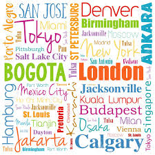 Cities In The World Word Cloud Collage Travel Destinations Concept Background Stock Vector