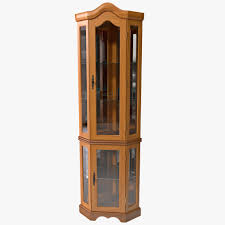 corner glass display cabinet light oak effect naindien