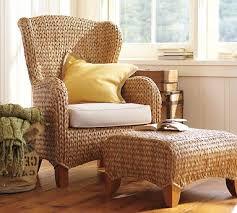Pottery Barn Seagrass Club Chair by Seagrass Wingback Armchair U0026 Ottoman Havana Dark Wingback