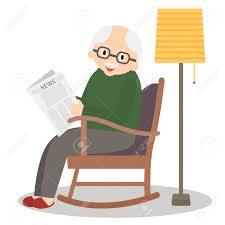 Grandfather Sitting In Rocking Chair. Old Man Leisure Time. Grandpa..