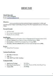 American Resume Format For Freshers