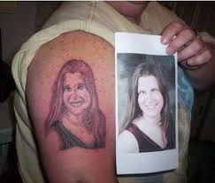 Bad Portrait Of Woman Girlfriend Wife Tattoo Tattoos Terrible Awful Ugliest Wtf