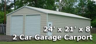 24 x 21 x 8 Two Car Steel Metal Garage Carport Installation
