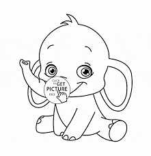 Cute Baby Elephant Coloring Pages Printable For Kids Ba Sheet Animal Page