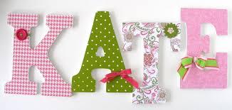Baby Nursery Wall Letters Paisley Pink & Green Custom