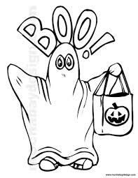 View And Print Cute Ghost Halloween Kids Coloring Page