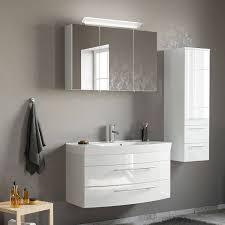 badezimmermöbel set in weiß hochglanz mit 100cm waschtisch und led spi