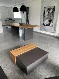 esstisch couchtisch kombination in holz beton