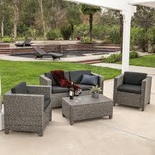 Outdoor Sectional Sofa Set by Venice 4 Piece Grey Black Wicker Outdoor Sectional Sofa Set