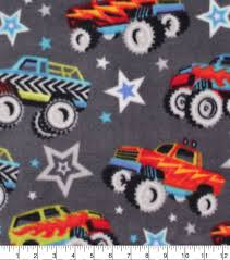 Anti-Pill Plush Fleece Fabric-Monster Trucks On Gray | JOANN