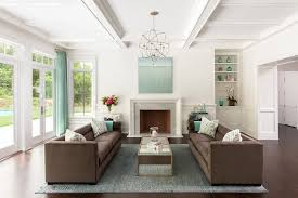 brown and blue living rooms transitional living room