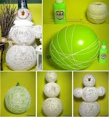 With A Balloon Glue And Some String You Can Make This Creative Snowman It Will Cheap Beautiful Decoration For Your Home