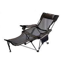 Camp Chair With Footrest by Ore International 35 In H Portable Slate Grey Mesh Lounger