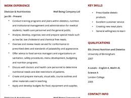 Registered Dietitian Resume Examples
