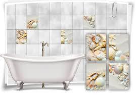 fliesen aufkleber spa wellness sand muscheln strand seestern bad wc deko