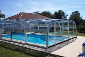 High Swimming Pool Enclosure 5 Angles Aqua Telescopic White RAL 9010 External View