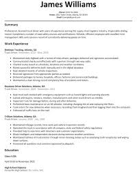 100 Truck Driver Resume Examples Sample Canada Free Templates
