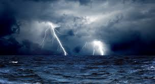 Clouds Waves Sea Storm Lightning Ocean Wallpaper Background