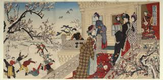 Children Playing In The Snow Under Plum Trees Bloom Secchu Baiso Gunji Yugi Zu