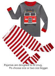Fire Truck Little Boys Long Sleeve Pajamas 100% Cotton Pjs Toddler ...