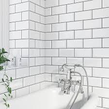 Ceramic Tile For Bathroom Walls by British Ceramic Tile Metro Bevel White Gloss Tile 100mm X 200mm