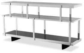 casa padrino luxury console silver black 180 x 46 x h 91 cm stainless steel cabinet with glass shelves shelf cabinet living room cabinet