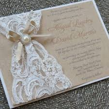 Diy Rustic Wedding Invitations Combined With White Lace And Sweet Brown Ribbon Also Lovely