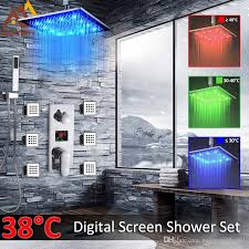großhandel digitale dusche armaturen set badezimmer verdeckte led duschkopf 3 funktions mischbatterie 6 stück spa jets in wand badezimmer