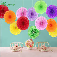 5pcs 20cm Tissue Paper Cut Out Fans Pinwheels Hanging Flower Crafts For Showers